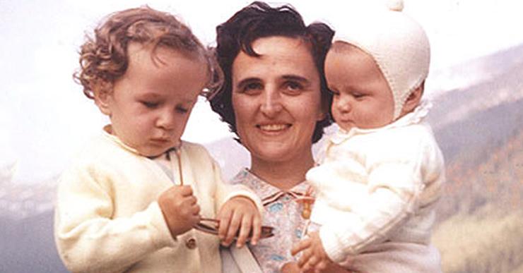 St. Gianna Beretta Molla holding her children